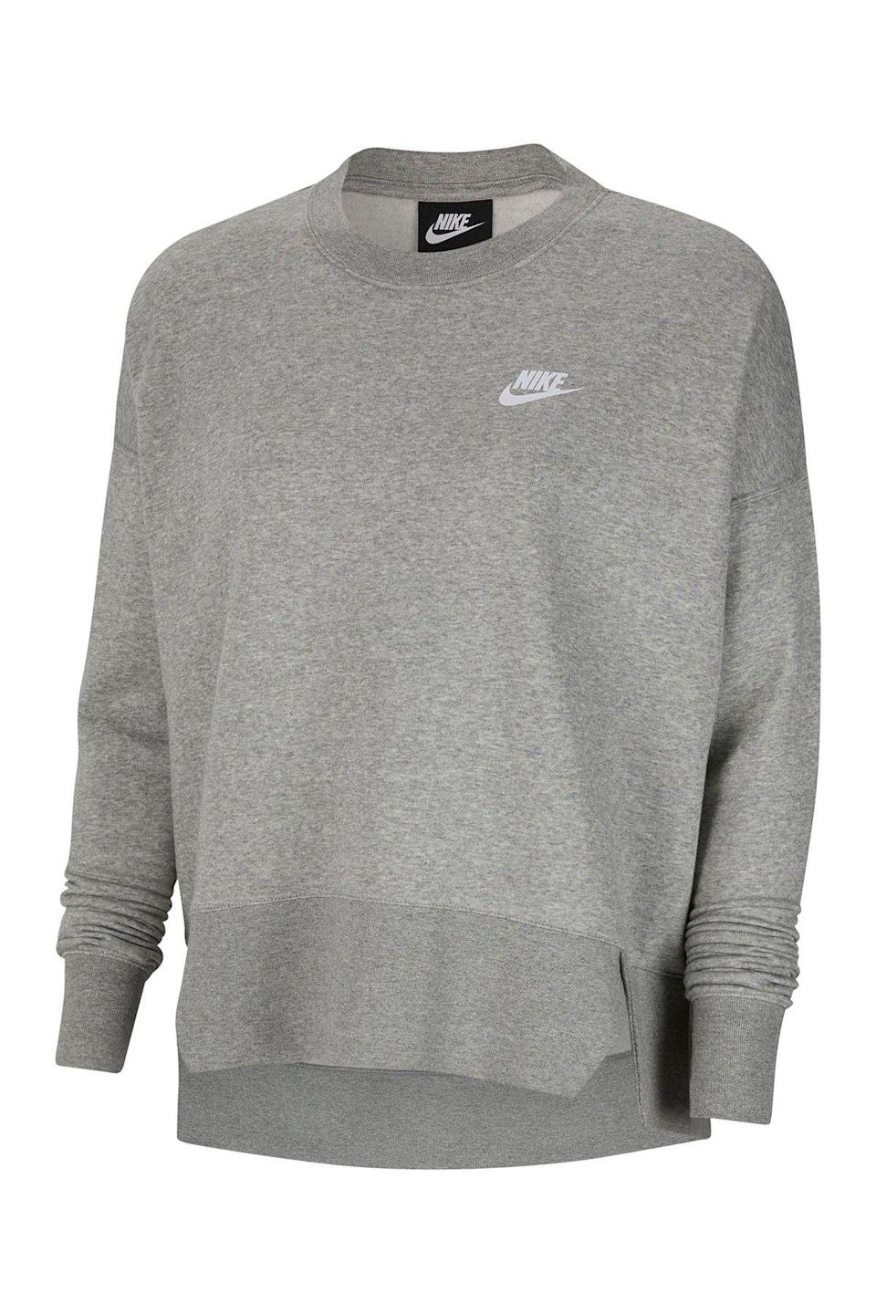 """<p><strong>Nike</strong></p><p>nordstromrack.com</p><p><a href=""""https://go.redirectingat.com?id=74968X1596630&url=https%3A%2F%2Fwww.nordstromrack.com%2Fshop%2Fproduct%2F3124026&sref=https%3A%2F%2Fwww.womenshealthmag.com%2Fstyle%2Fg33534500%2Fnordstrom-rack-nike-sale%2F"""" rel=""""nofollow noopener"""" target=""""_blank"""" data-ylk=""""slk:Shop Now"""" class=""""link rapid-noclick-resp"""">Shop Now</a></p><p><del>$55</del><strong><br>$37.97</strong></p><p>With a classic, crewneck silhouette and Nike's iconic swoosh logo, this sweatshirt is versatile enough to wear during a quick errands. </p>"""