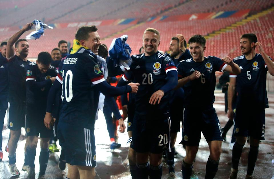 Scotland players celebrate their historic win in Belgrade (Getty Images)