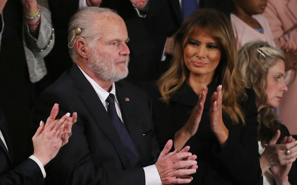Radio personality Rush Limbaugh reacts after First Lady Melania Trump gives him the Presidential Medal of Freedom during the State of the Union address in the chamber of the U.S. House of Representatives on February 04, 2020 - Mario Tama/Getty Images