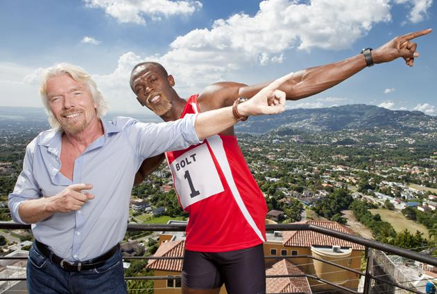 Sir Richard Branson and Usain Bolt joined forces this week to film a new TV advert for Virgin Media.