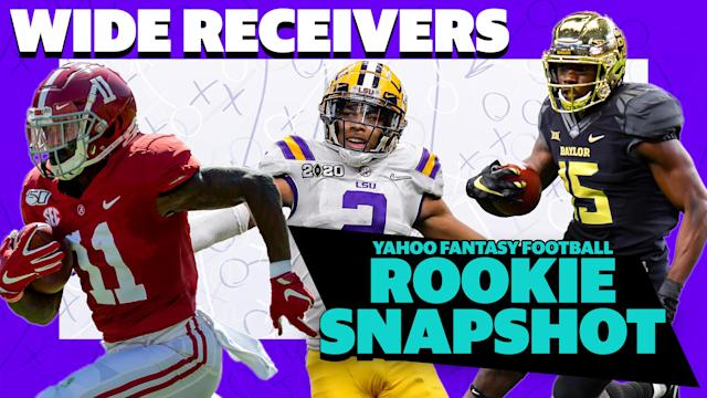 Alabama's Henry Ruggs, LSU's Justin Jefferson and Baylor's Denzel Mims are featured on this week's Yahoo Fantasy Football Podcast: Rookie Snapshot featuring Liz Loza and Eric Edholm. (Getty Images/Yahoo Sports)