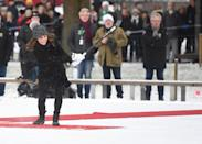 Kate challenges William to a bandy hockey shoot out in Stockholm on their royal tour of Sweden in January 2018. <em>[Photo: PA]</em>