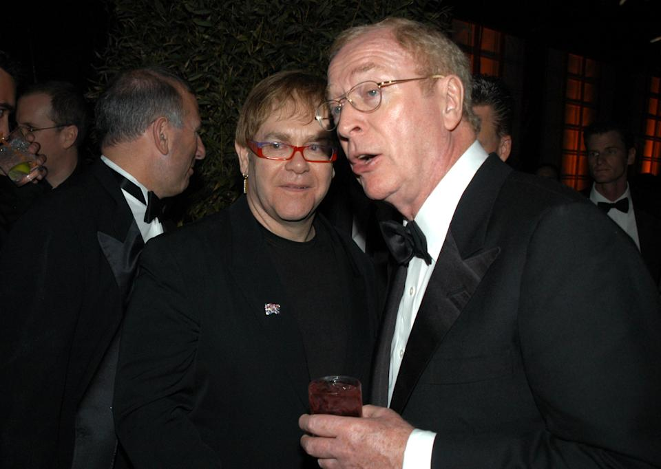(EXCLUSIVE, Premium Rates Apply) Elton John and Michael Caine (Photo by Jeff Kravitz/FilmMagic)