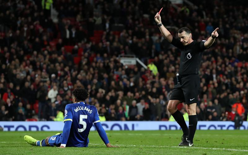 Everton's Ashley Williams gets a red card during the Premier League match at Old Trafford, Manchester - Credit: PA