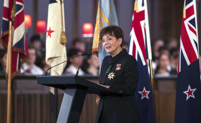 New Zealand's Governor-General Patsy Reddy speaks during a national memorial service for Prince Philip at the Cathedral of St. Paul in Wellington, New Zealand. Prince Philip was remembered as frank, engaging and willing to meet people from all walks of life during his 14 visits to the country. (Robert Kitchin/Pool via AP)