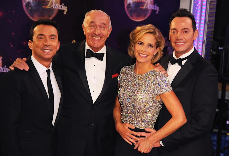 "BOREHAMWOOD, ENGLAND - SEPTEMBER 02: Bruno Tonioli, Len Goodman, Darcey Bussell and Craig Revel Horwood attend the red carpet launch for ""Strictly Come Dancing"" 2014 at Elstree Studios on September 2, 2014 in Borehamwood, England. (Photo by Eamonn M. McCormack/Getty Images)"