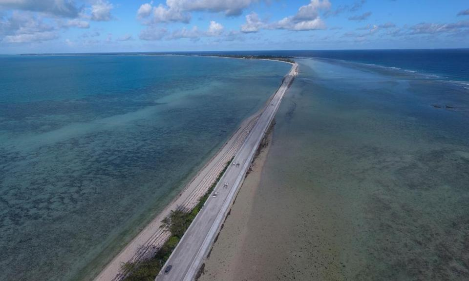 The Nippon causeway which joins the central area of Betio to the rest of South Tarawa, Kiribati.
