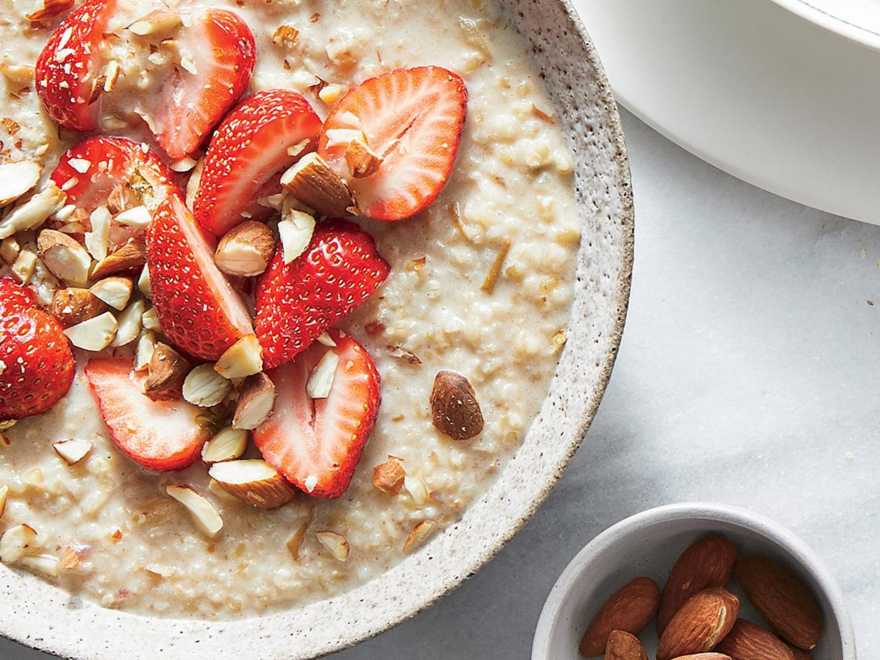 "<p>While you might not think of turning bulgur into porridge, it's a delicious whole-grain breakfast with a texture similar to instant oatmeal. Mashed dates naturally sweeten and enrich almond milk for a creamy, satisfying bowl. You can <a href=""https://www.cookinglight.com/recipes/simply-seasoned-bulgur"" target=""_blank"">make the porridge ahead</a> and simply reheat briefly before serving; add the berries and nuts after heating the bulgur.</p> <p><a href=""https://www.myrecipes.com/recipe/strawberry-bulgur-bowl"">Strawberry Bulgur Bowl Recipe</a></p>"