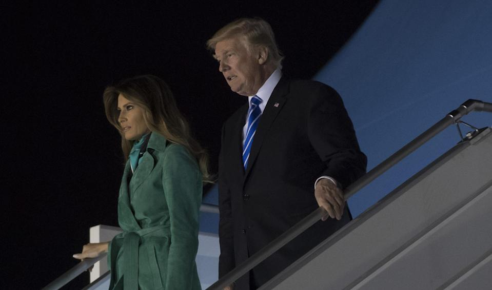 US President Donald Trump and First Lady Melania Trump arrive on Air Force One at Warsaw Chopin Airport in Warsaw, Poland, July 5, 2017, as they begin a 4-day trip to Poland and Germany: SAUL LOEB/AFP/Getty Images