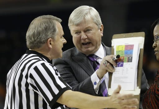 Texas A&M coach Gary Blair argues with an official during the first half of an NCAA college basketball game against Tennessee in the Southeastern Conference women's tournament, Saturday, March 9, 2013, in Duluth, Ga. Texas A&M won 66-62. (AP Photo/John Bazemore)