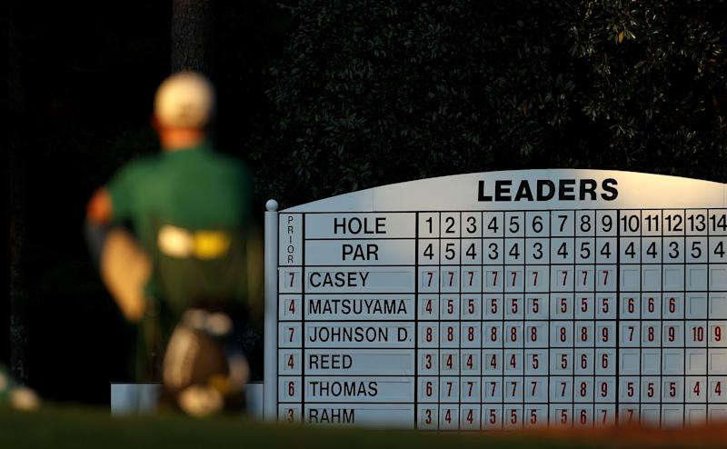 A detail of a leaderboard during the second round of the Masters at Augusta National Golf Club.