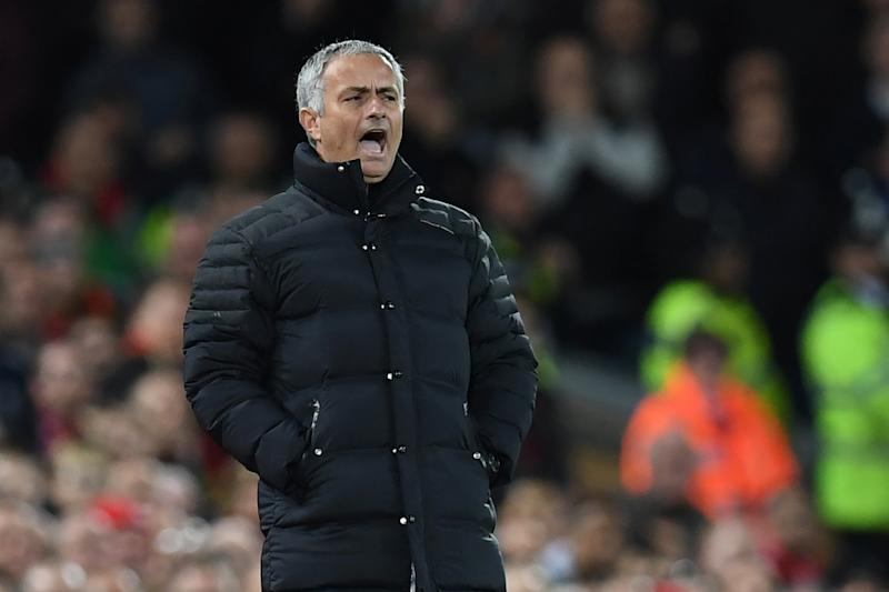 Manchester United's manager Jose Mourinho during the English Premier League football match between Liverpool and Manchester United at Anfield in Liverpool on October 17, 2016