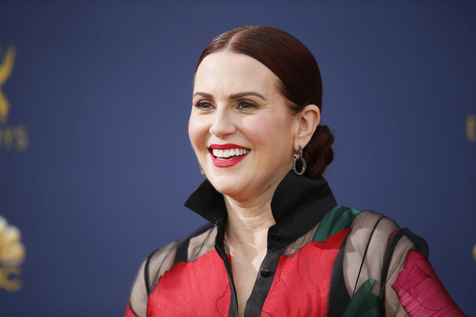 Megan Mullally, pictured at the Emmys on Sept. 17, says a man exposed himself to her during an Instagram Live. She rallied her fans and the account was soon suspended. (Photo: Danny Moloshok/Invision for the Television Academy/AP Images)