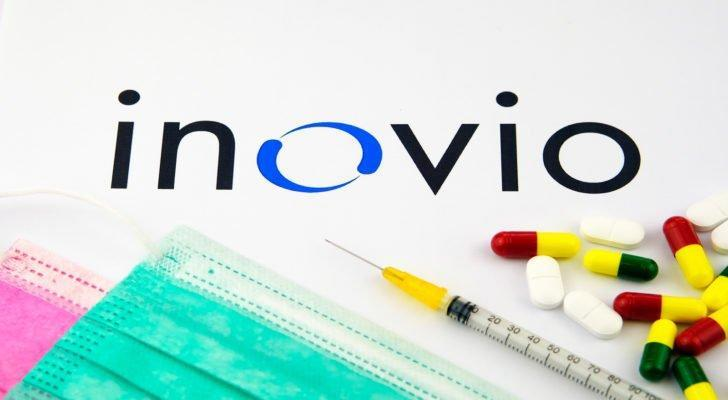 the inovio (INO) logo covered up by pills and a syringe