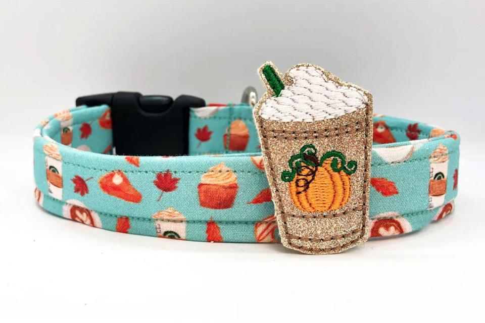 """<p>This collar will let baristas know that your dog respects pumpkin spice lattes as much as you do. </p> <p><strong>Buy it!</strong> Pumpkin Spice Dog Collar, $17.50; <a href=""""https://www.awin1.com/cread.php?awinmid=6220&awinaffid=272513&clickref=POGiftforDogOwnersObsessedwithPumpkinSpicedLattesKBender0921&platform=dl&ued=https%3A%2F%2Fwww.etsy.com%2Flisting%2F730493651%2Fdog-collar-pumpkin-spice-dog-collar-with"""" rel=""""nofollow noopener"""" target=""""_blank"""" data-ylk=""""slk:Etsy.com"""" class=""""link rapid-noclick-resp"""">Etsy.com</a></p>"""