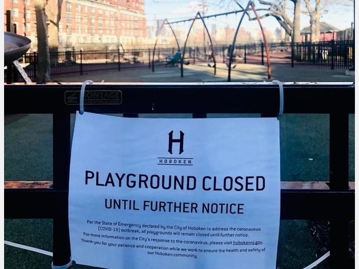 All Hoboken playgrounds and parks are currently closed, amid the spread of coronavirus. Playgrounds would reopen last as part of a plan by six mayors.