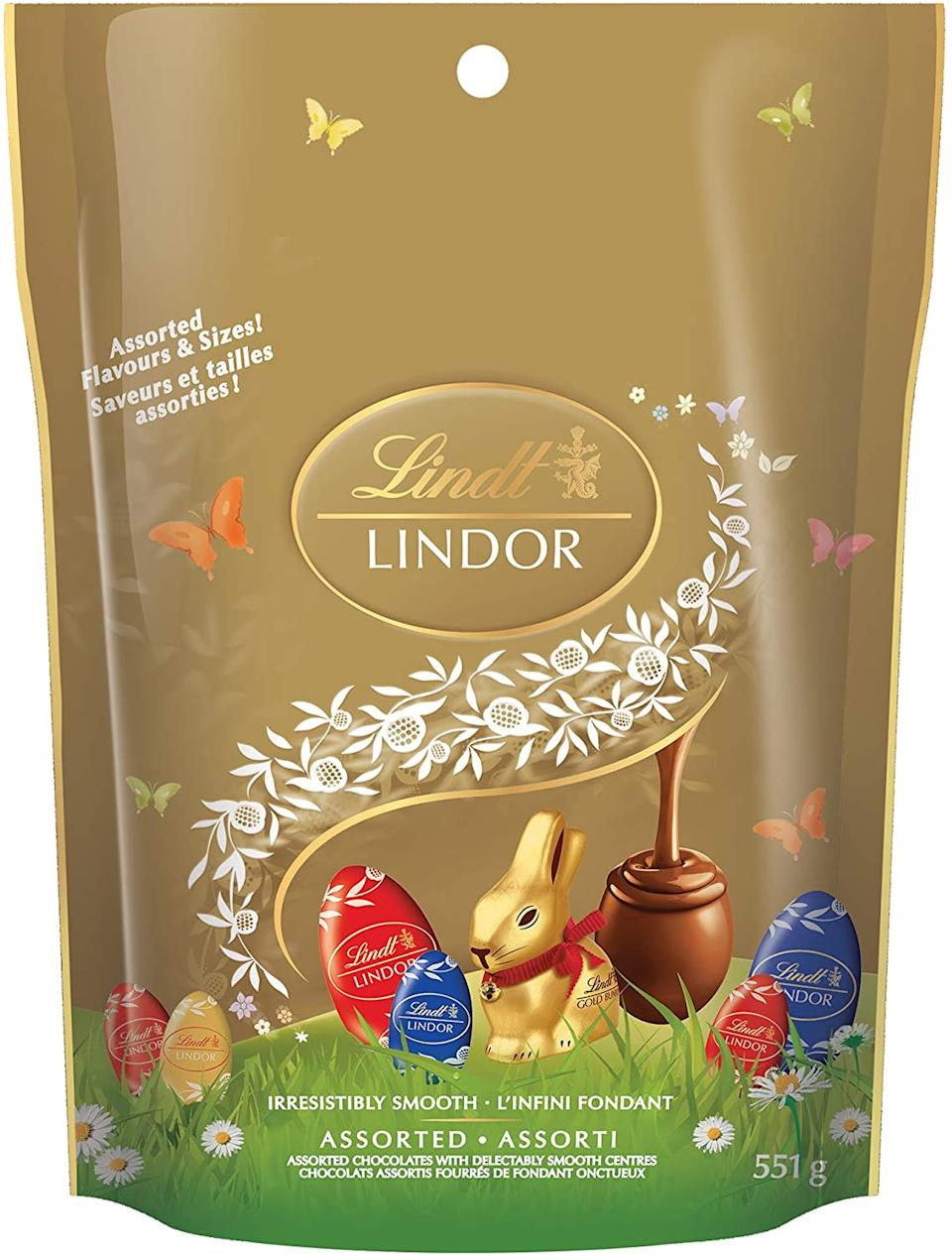 Lindt Lindor Assorted Chocolate Easter Eggs. Image via Amazon.