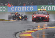 Red Bull driver Max Verstappen of the Netherlands follows behind the safety car for the formation lap during the Formula One Grand Prix at the Spa-Francorchamps racetrack in Spa, Belgium, Sunday, Aug. 29, 2021. (AP Photo/Olivier Matthys)