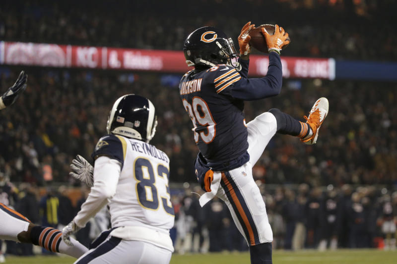 Chicago Bears safety Eddie Jackson (39) intercepts a pass intended for Los Angeles Rams wide receiver Josh Reynolds (83) during the first half of an NFL football game Sunday, Dec. 9, 2018, in Chicago. (AP Photo/David Banks)
