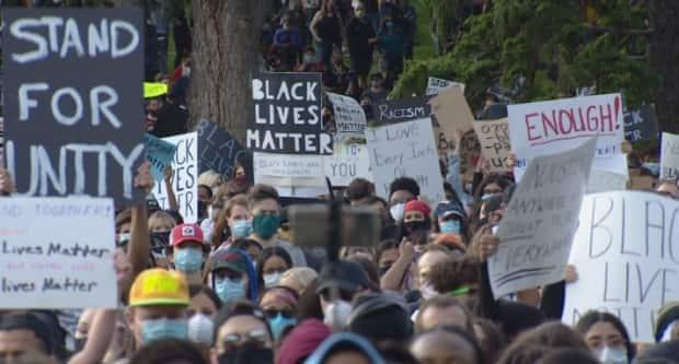 Thousands protested against systemic racism in Edmonton last summer. (Trevor Wilson/CBC - image credit)