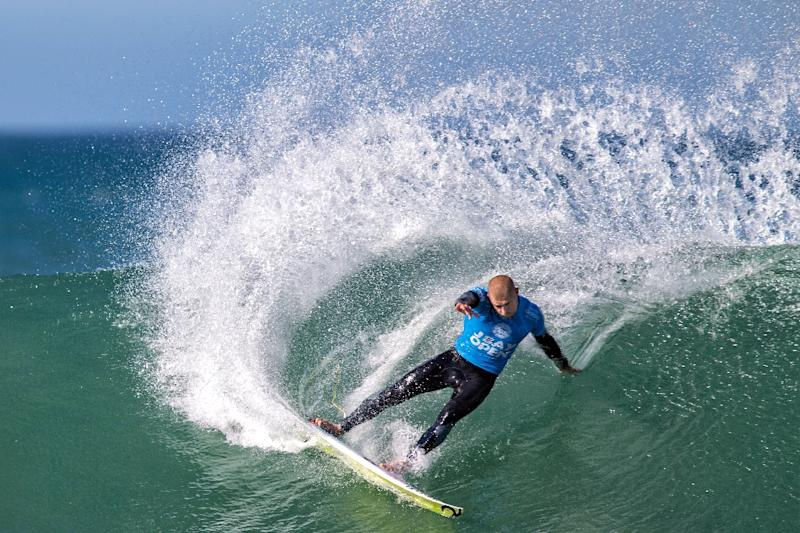 Australian surfer Mick Fanning in action on July 19, 2015 before the now famous shark during the J-Bay Open final in Jeffreys Bay (AFP Photo/Stan Blumberg)