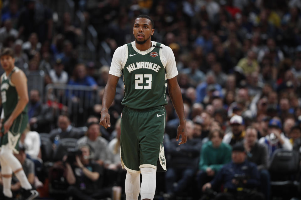 Sterling Brown joined George Hill in leading the Bucks in their protest statement. (AP Photo/David Zalubowski)