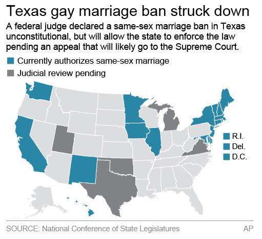 Map shows states with laws allowing same-sex marriage; 2c x 3 inches; 96.3 mm x 76 mm;
