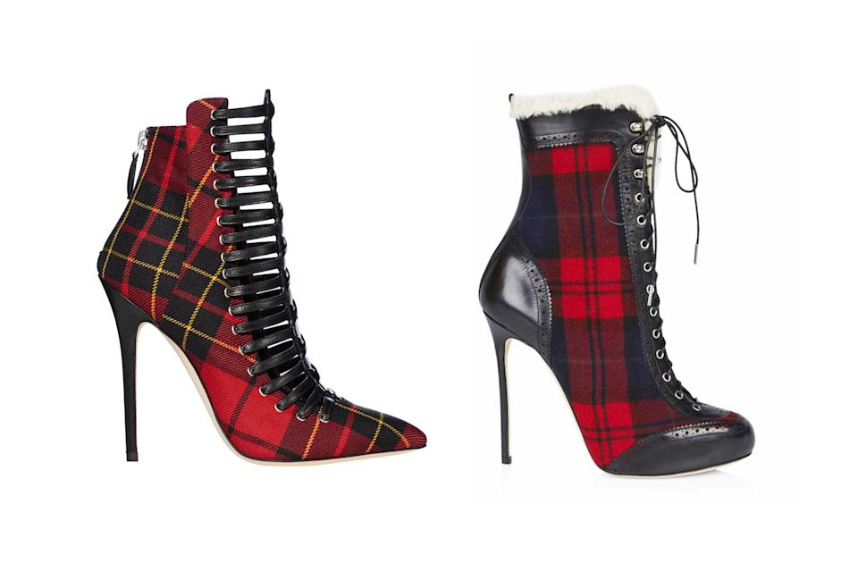"""<p>Brian Atwood for Victoria's Secret """"Punk Angel"""" plaid booties, left, and Dsquared2 check lace-up booties, <a rel=""""nofollow noopener"""" href=""""http://www.dsquared2.com/us/ankle-boot_cod11363568ux.html?tp=76657"""" target=""""_blank"""" data-ylk=""""slk:$522 Dsquared2"""" class=""""link rapid-noclick-resp"""">$522 Dsquared2</a> (Photo: Victoria's Secret/Dsquared2) </p>"""