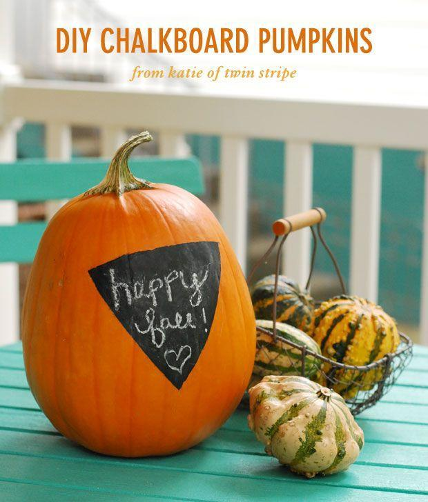 "<p>Wish your guests a happy Halloween (and then Thanksgiving!) by covering the front of a pumpkin with a circle of chalkboard paint. </p><p><em><a href=""http://blog.oubly.com/halloween-pumpkin-decorating-ideas/"" rel=""nofollow noopener"" target=""_blank"" data-ylk=""slk:Get the tutorial at Oubly »"" class=""link rapid-noclick-resp"">Get the tutorial at Oubly »</a></em></p>"