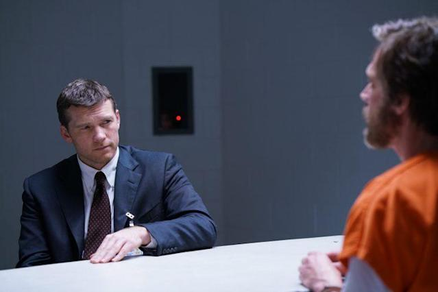 Sam Worthington as Jim Fitzgerald and Paul Bettany as Ted Kaczynski. (Photo: Discovery)