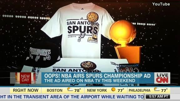 NBA TV aired an ad selling 'San Antonio Spurs 2013 NBA champions' gear (Video)
