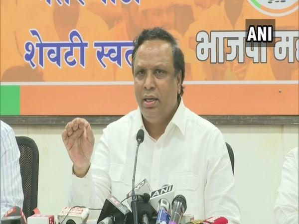 BJP leader Ashish Shelar addressing a press conference in Mumbai on Monday.