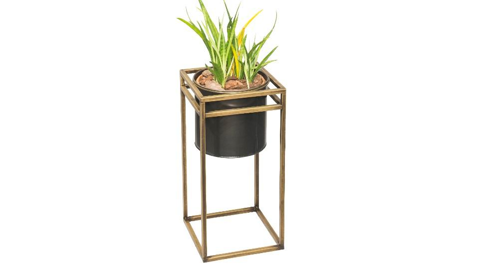 Round Planter with Iron Frame Square Stand - The Home Depot Canada, $99