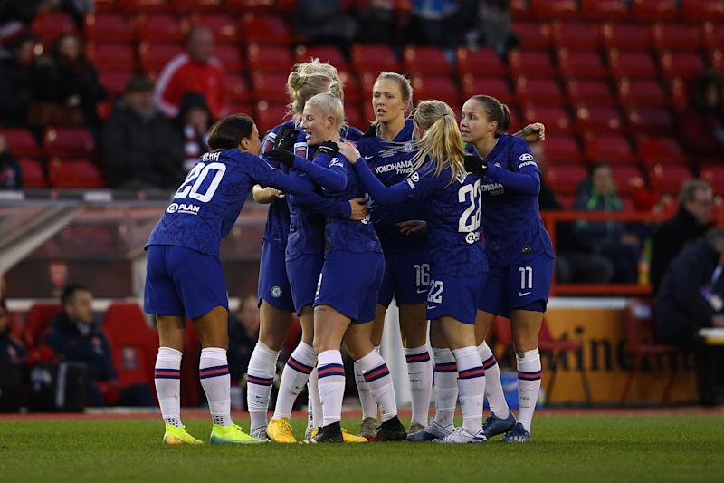 NOTTINGHAM, ENGLAND - FEBRUARY 29: Bethany England of Chelsea celebrates scoring their first goal with her team mates during the FA Women's Continental League Cup Final Chelsea FC Women and Arsenal FC Women at City Ground on February 29, 2020 in Nottingham, England. (Photo by Chris Lee - Chelsea FC/Chelsea FC via Getty Images)