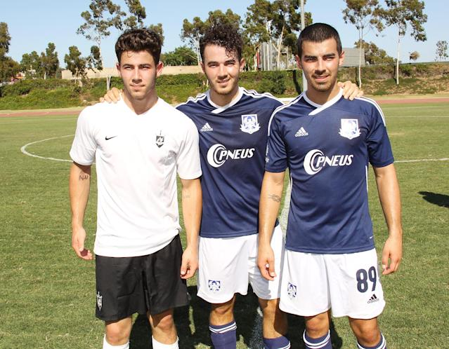 plays/attends The Jonas Brothers host a charity soccer match held at StubHub Center – track and field on August 17, 2013 in Los Angeles, California.