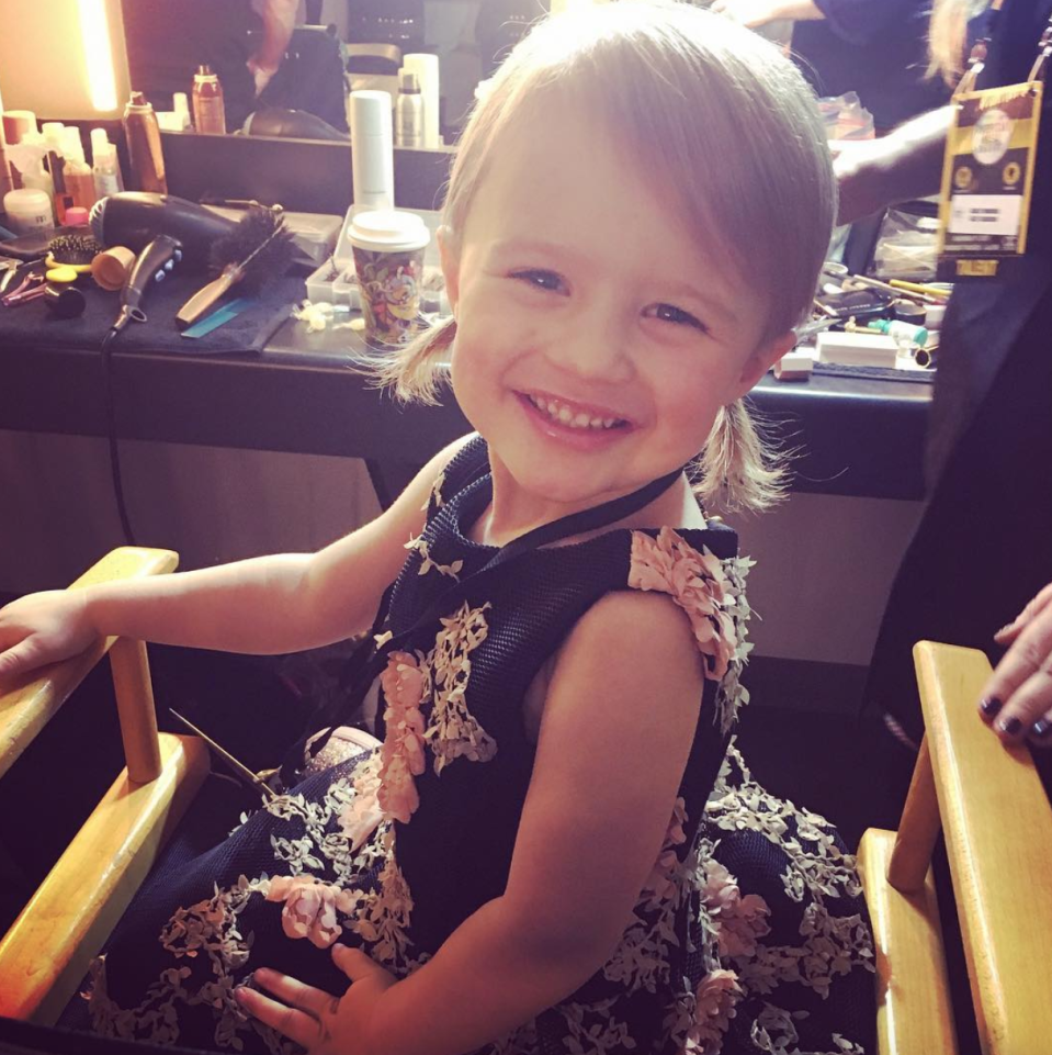 "<p><span>""So thankful for this little nugget #RiverRose #RedCarpetReady,"" Clarkson captioned this adorable throwback pic of her 3-year-old daughter, River Rose, ahead of the American Music Awards. </span>(Photo: <a rel=""nofollow noopener"" href=""https://www.instagram.com/p/Bb7KMOmhGuV/?hl=en&taken-by=kellyclarkson"" target=""_blank"" data-ylk=""slk:Kelly Clarkson via Instagram"" class=""link rapid-noclick-resp"">Kelly Clarkson via Instagram</a>) </p>"