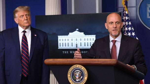 PHOTO: FDA Commissioner Stephen Hahn speaks as President Donald Trump looks on during a press conference at the White House, in Washington, Aug. 23, 2020. (Saul Loeb/AFP via Getty Images)