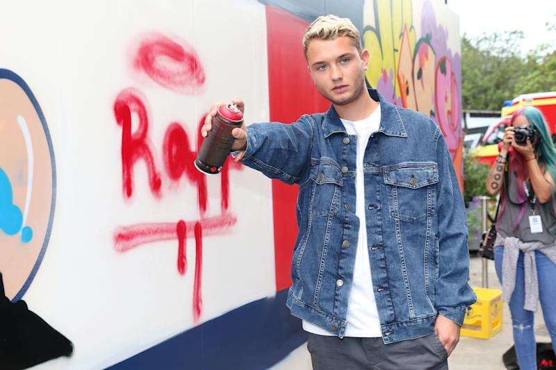 BERLIN, GERMANY - SEPTEMBER 01: Rafferty Law, son of Jude Law, in front of the graffiti wall at the Tommy Hilfiger Denim Lab during the Bread & Butter by Zalando, arena Berlin on September 1, 2017 in Berlin, Germany. (Photo by Gisela Schober/Getty Images for Zalando)