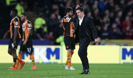 Britain Soccer Football - Hull City v Middlesbrough - Premier League - The Kingston Communications Stadium - 5/4/17 Hull City manager Marco Silva celebrates after the match Action Images via Reuters / Carl Recine Livepic