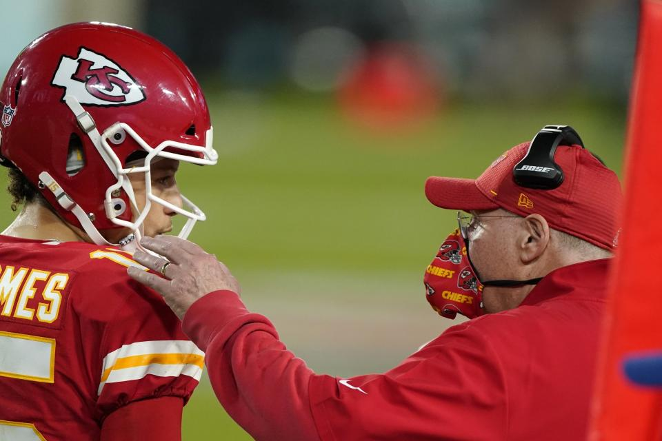 Chiefs head coach Andy Reid admitted after Super Bowl LV he didn't put Patrick Mahomes and the offense in the best position. (AP Photo/Gregory Bull)