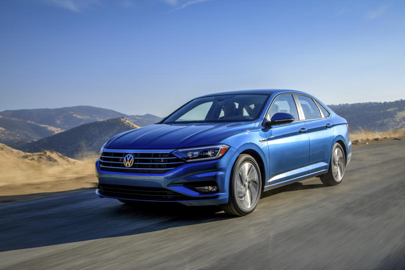 This undated photo provided by Volkswagen shows the 2019 Volkswagen Jetta, a compact sedan that offers an average savings of about 14% in November. (James Halfacre/Volkswagen via AP)