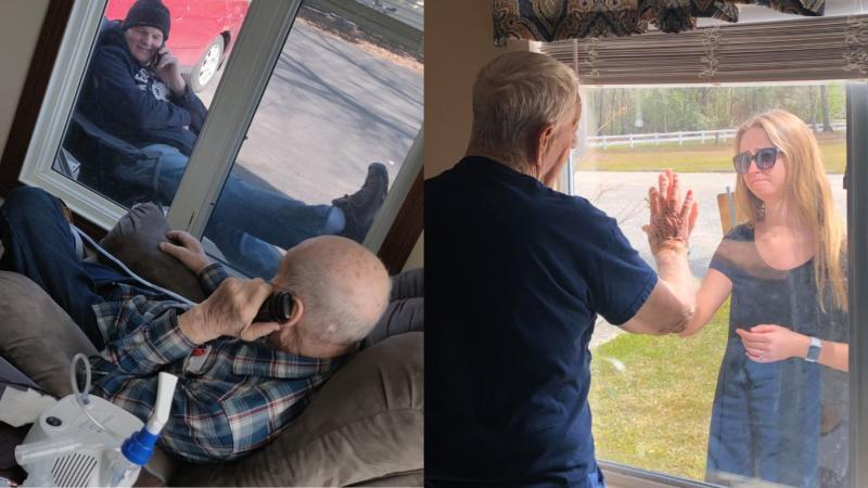 Assisted-living facilities in Minnesota and North Carolina are sharing heartwarming photos of families during the COVID-19 lockdown. Images via Facebook.