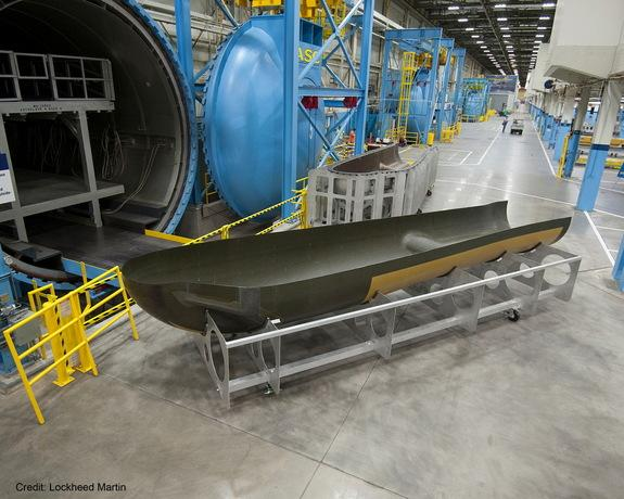 The airframe for the Sierra Nevada Dream Chaser spacecraft at a Lockheed Martin facility in Fort Worth, Texas.