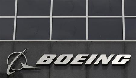 The Boeing logo is seen at their headquarters in Chicago