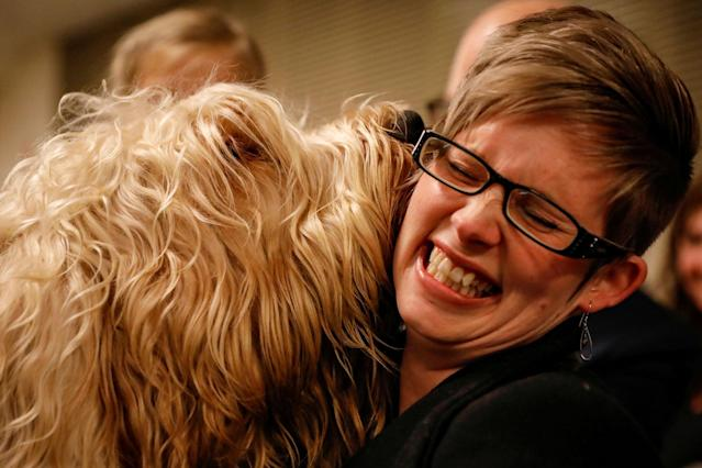 <p>An otterhound named Willie Nelson licks a guest backstage before judging at The 142nd Westminster Kennel Club Dog Show in New York, Feb. 12, 2018. (Photo: Brendan McDermid/Reuters) </p>