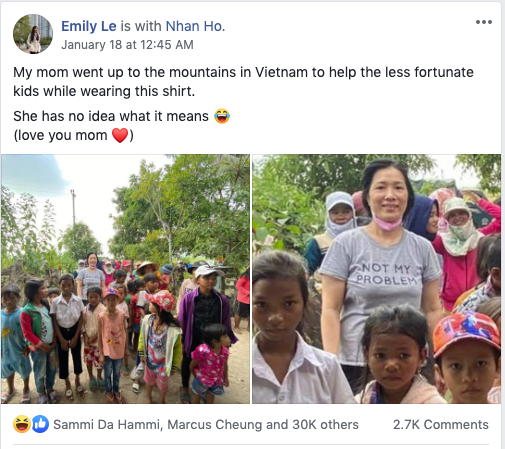 Emily Le's Facebook post