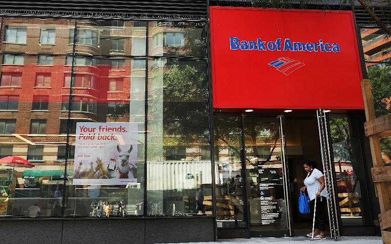 Higher interest rates enabled Bank of America to more than triple its fourth-quarter earnings (AFP Photo/SPENCER PLATT)