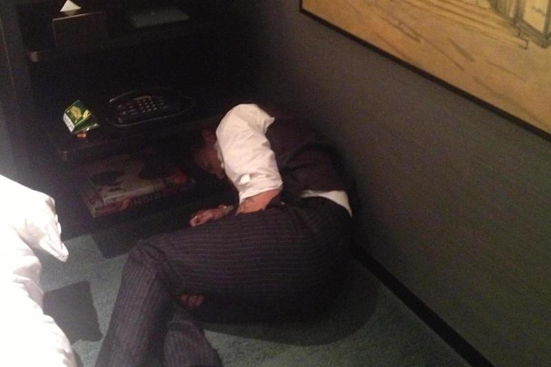 An image of Johnny Depp apparently passed out on the floor