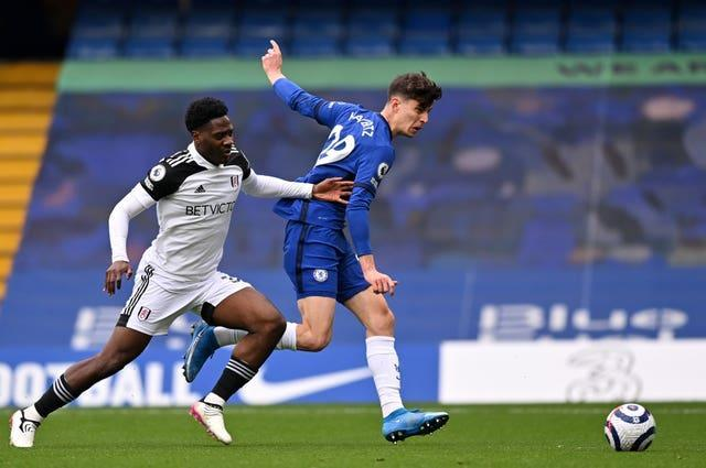 Kai Havertz (right) scores an early opener in Chelsea's win against Fulham (Justin Setterfield/PA).