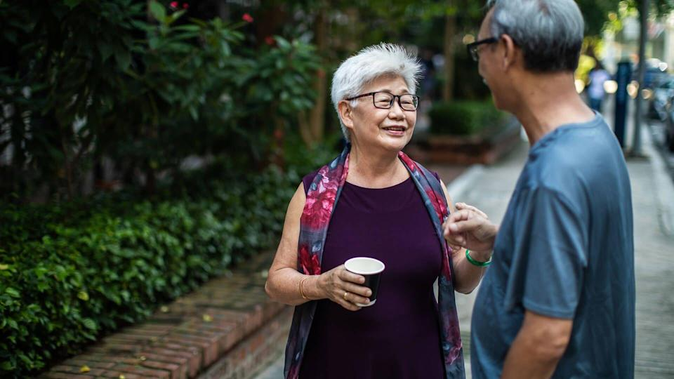 Two Chinese senior adults talking in the park.